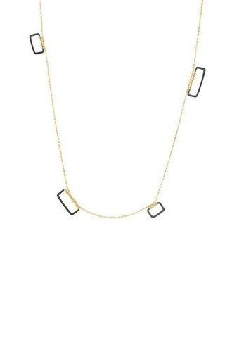 Dana Kellin Fashion Dark Silver and Gold Necklace