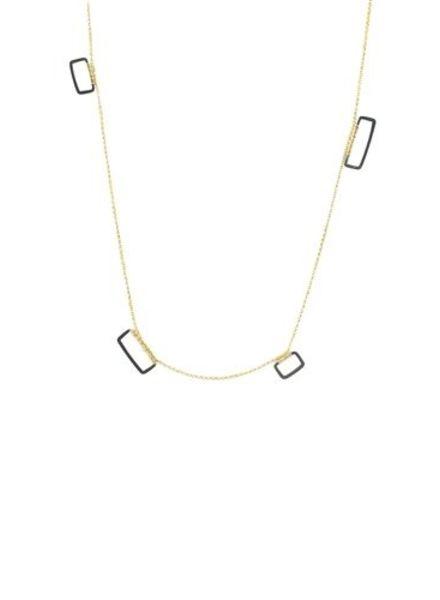 Dana Kellin Fashion Dark Silver and Gold Necklace