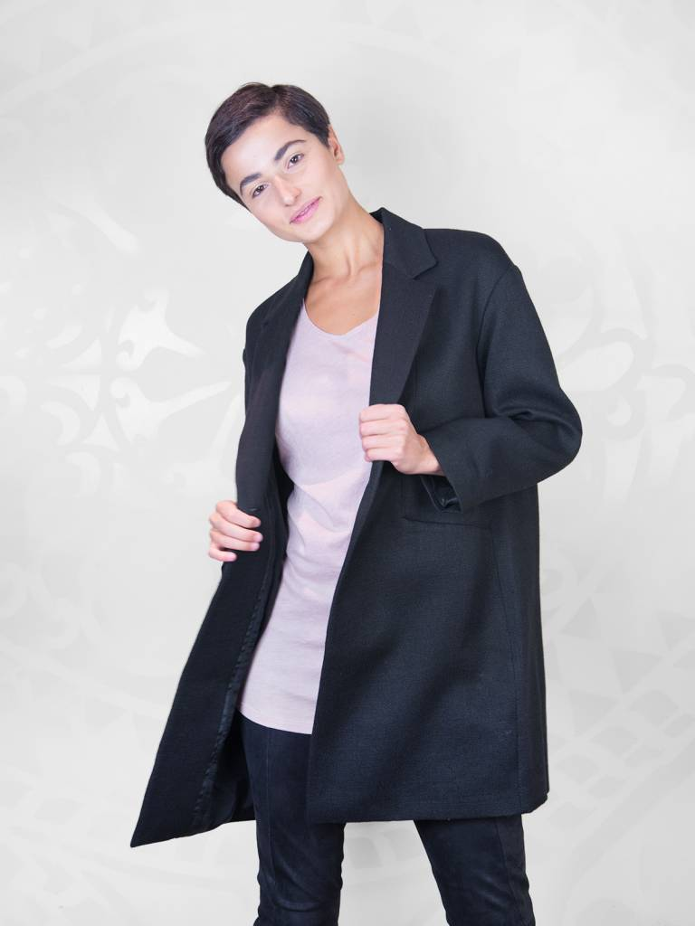Pomandere - Collared Coat Black - Women s Clothing Boutique e63c7f3ed13e