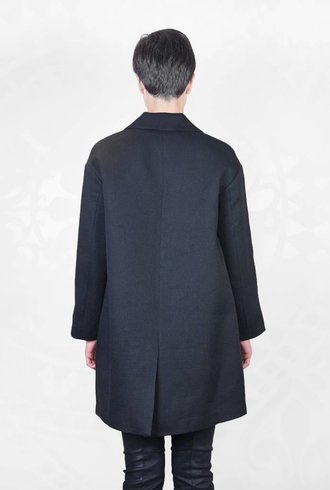 Pomandere Collared Coat Black