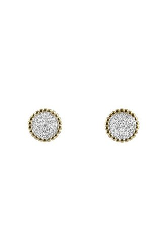 KISMET by Milka Beaded White Diamond Circle Earrings
