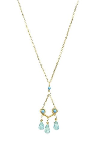 Dana Kellin Fashion Open Turquoise Pendant with Apatite Stone
