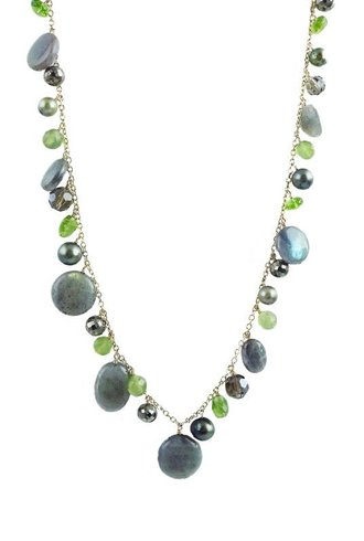 Dana Kellin Fashion Olive Mix Labradorite Dangle Necklace