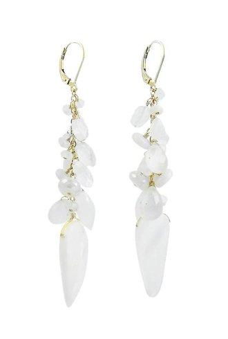 Dana Kellin Fashion Long White Mix Dangle Earrings