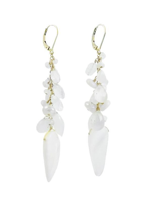 Dana Kellin Long White Mix Dangle Earrings