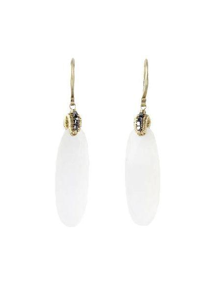 Dana Kellin Fine 14k Chalcedony and Black Diamond Earrings