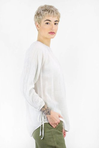 Raquel Allegra Little Peasant Blouse Dirty White
