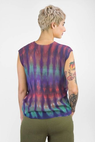 Raquel Allegra Muscle Tee Rainbow Nation Tie Dye