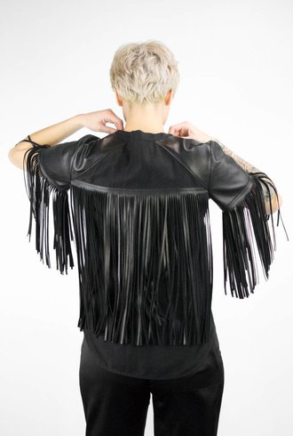 Raquel Allegra Leather Fringe Button Up Black