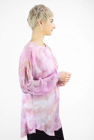 Raquel Allegra Tie Dye Chiffon Shirred Tunic Fuschia