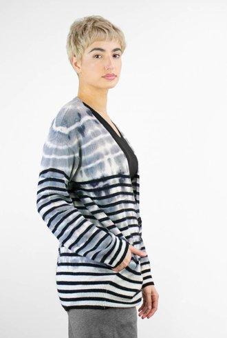 Raquel Allegra Tie Dye Stripe Cashmere Shred Back Cardi Grey