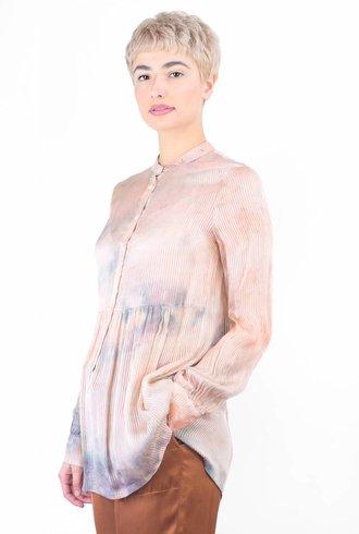 Raquel Allegra Vintage Stripe Tie Dye Empire Blouse Coral