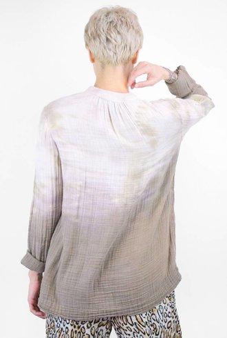 Raquel Allegra Tie Dye Gauze Peasant Blouse Sand