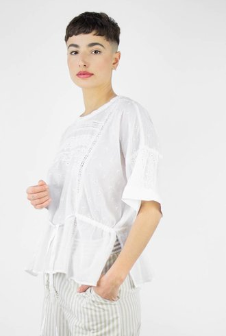 Burning Torch Aire Short Sleeve Top White