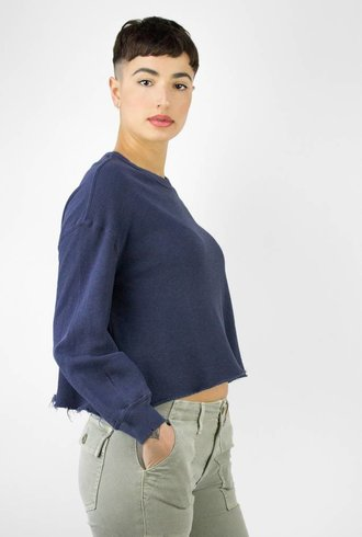 The Great The Cut Off Sweatshirt Mottled Blue