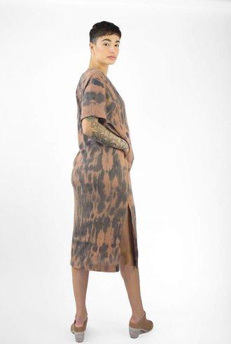 Raquel Allegra V Neck Boxy Dress Clay Fire Tie Dye