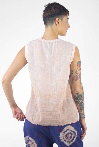 Raquel Allegra Muscle Tee Rose Quartz Tie Dye