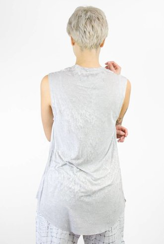 Raquel Allegra Rainwash Silk and Jersey Muscle Tee Dusty Grey