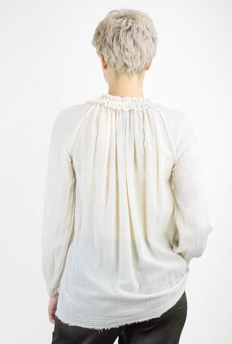 Raquel Allegra Gauze Shirred Collar Blouse Champagne