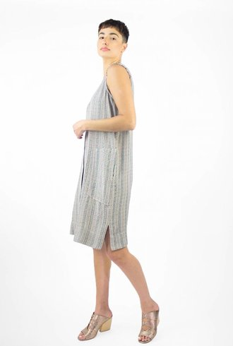 Raquel Allegra Tank Shirt Dress Cream Stripe