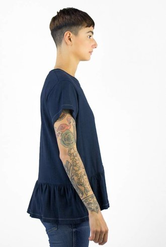 The Great The Vintage Jersey Ruffle Tee Deep Blue