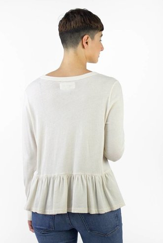 The Great Long Sleeve Vintage Jersey Ruffle Tee White