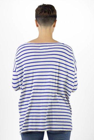 The Great The Sailor Stripe Tee Blue-Cream