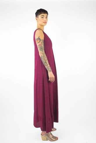 Pomandere V Neck Tank Dress Berry