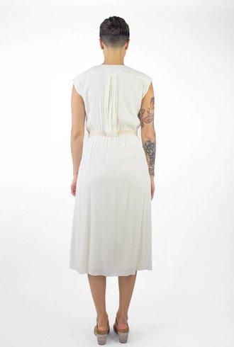 Pomandere V Neck Midi Dress Cream