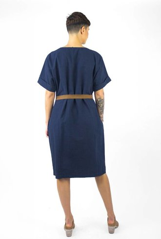 Pomandere Short Sleeve Tie Dress Navy
