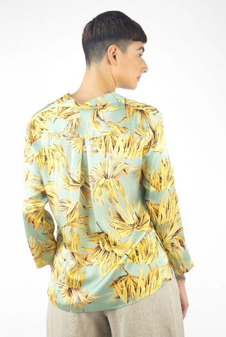 Pomandere Printed Button Down Shirt Yellow