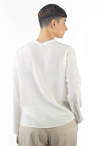 Pomandere Crew Neck Button Down Shirt Cream