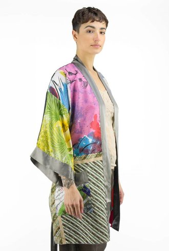 Burning Torch Vintage Scarf Kimono