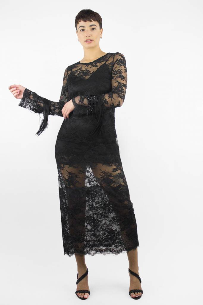 Loydford Lace Long Sleeve Dress Black Womens Clothing Boutique
