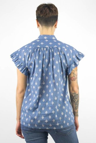 Trovata Marianne Ruffle Sleeve Shirt Blue Print