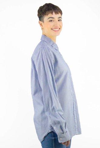 Trovata Classic Stripe Shirt Navy White
