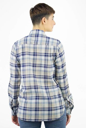 Trovata Classic Plaid Shirt Navy Beige