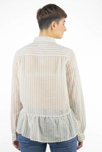 Trovata Peplum Stripe Shirt Beige