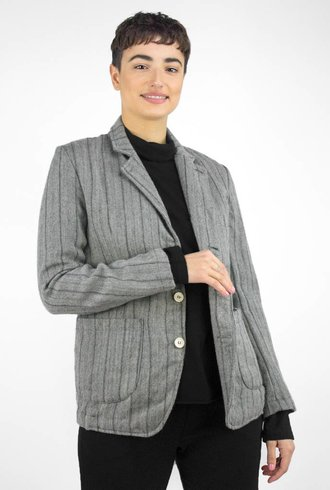 Bsbee Wool Stripe Jacket Light Grey