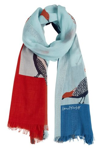 Inouitoosh Birds Scarf Red Blue
