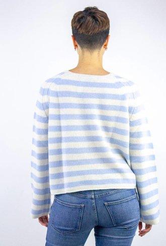 360 Sweater Nariko Stripe Cashmere Pullover Wedgewood