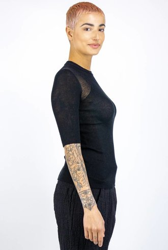 Inhabit Cotton Knit Mod Tee Black