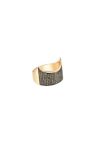 KISMET Medallion Claw Ring Black Gold