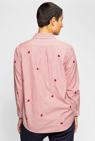 The Great The Campus Shirt Poppy Stripe Embroidered