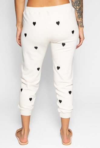 The Great The Cropped Sweat Pant Washed White Embroidered
