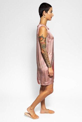Raquel Allegra Ruffle Muscle Tee Dress Pink Sands Tie Dye