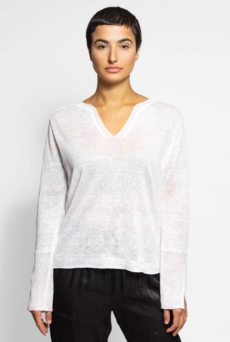 Inhabit Linen Serafino Pullover White