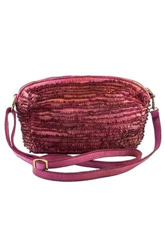 Majo Small Leather Fringe Bag Azalea