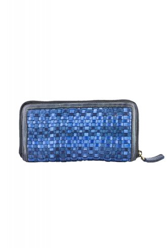 Majo Leather Wallet Blue Raw