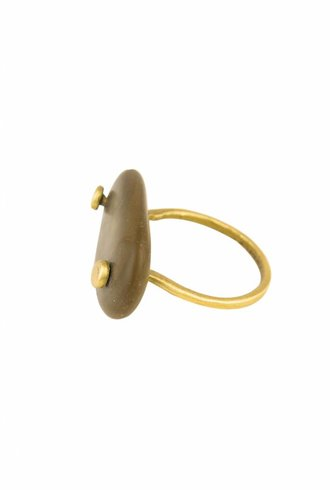 Renee Garvey Brown Beach Pebble Ring Brass